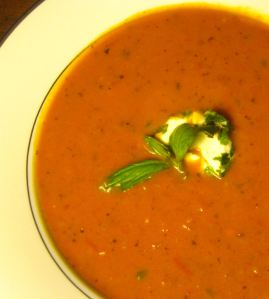 Tomato Soup with Goat Cheese