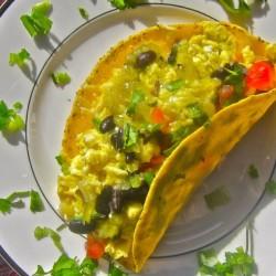 Breakfast Taco: Eggs, Black Beans, and Salsa