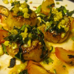 Seared Sea Scallops with Grilled Peaches, Kale, and Corn
