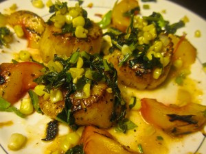 Seared Scallops and Grilled Peaches