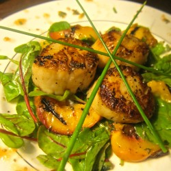 Warm Scallop Salad with Grilled Peaches and Baby Chard
