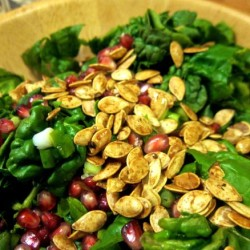 Spinach Salad with Pomegranate and Pepitas + Pomegranate Dressing