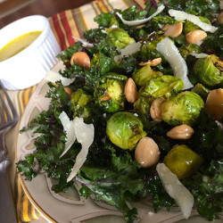 Kale and Brussels Sprouts Salad with Marcona Almonds and Maple Dijon Vinaigrette