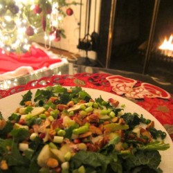 A Big Christmas Salad, Pretty as a Wreath | Kale with Pears and Pomegranate