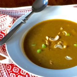 Thai Pumpkin Soup with Coconut, Cashews, and Curry