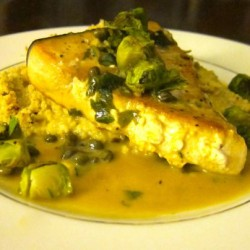 Swordfish Piccata with Smashed Cauliflower and Caramelized Brussels Sprouts