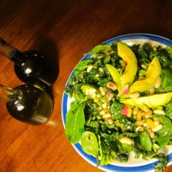 Mixed Greens with Avocado, White Beans, and Watermelon Radish