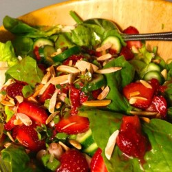Strawberry Salad with Spring Greens, Toasted Almonds, and Citrus-Thyme Vinaigrette