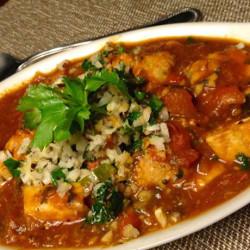 Savory Swordfish in Tomato-Tamarind Sauce with Coconut Chutney