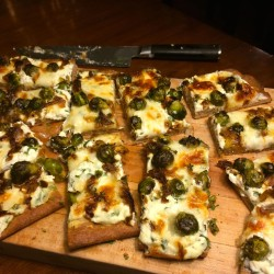 """Caramelized Onion and Brussels Sprouts """"Grandma Pie"""" (That's Pizza, Folks)"""