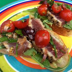 Seared Tuna Crostini with Summer Herbs and Tomatoes