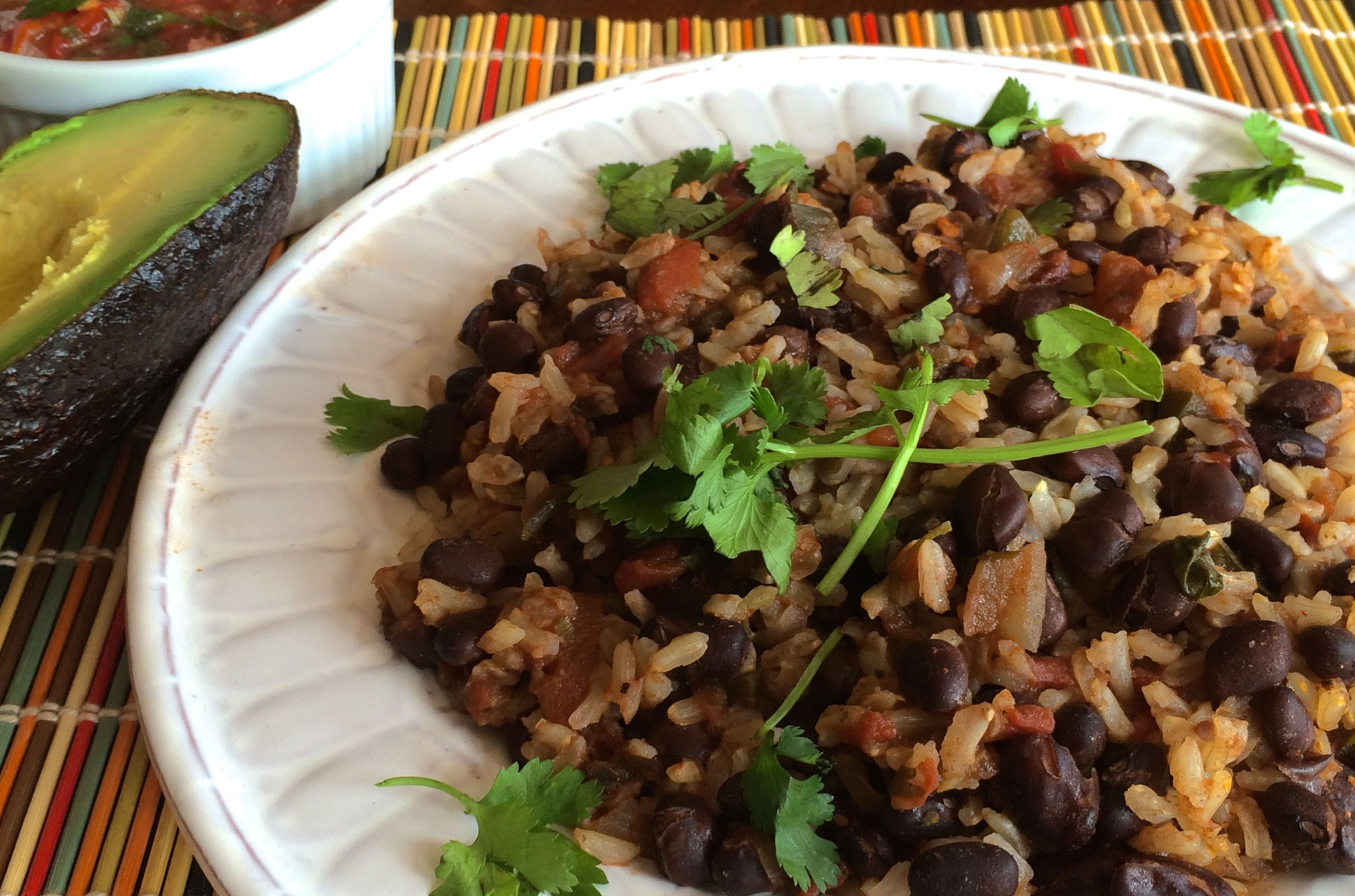 Brown Rice and Black Beans | #pkway