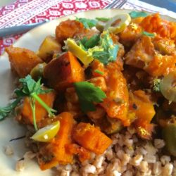 Moroccan Stew with Sweet Potatoes, Parsnips, Turnips, and Chick Peas (Recipe)