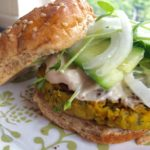 Falafel burger with tahini