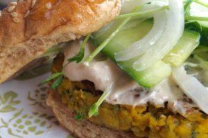 Falafel burger with tahini